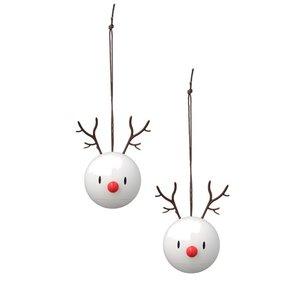 Hoptimist Reindeer hangers wit – 2pcs Ø6cm