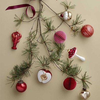Bungalow DK Ornament Mushroom red - glas H11,5cm