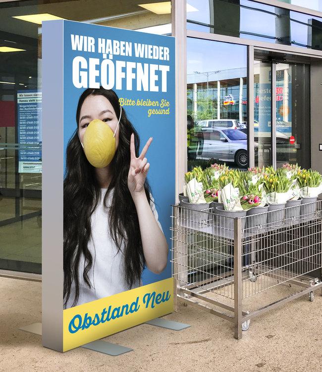 "Hygieneschutz Hinweis Stelen ""Premium"" unbeleuchtet"