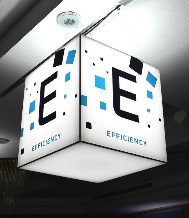 Messewürfel  mit LED Beleuchtung als Textilspannrahmen für Ihre Lobby oder EIngangsbereich