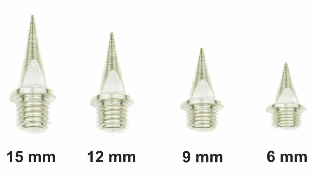 Spikepunten set van 100 stuks in 6, 9, 12, 15 of 18mm