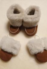 Leren  / Wollen baby sloffen + handschoentjes met koortje