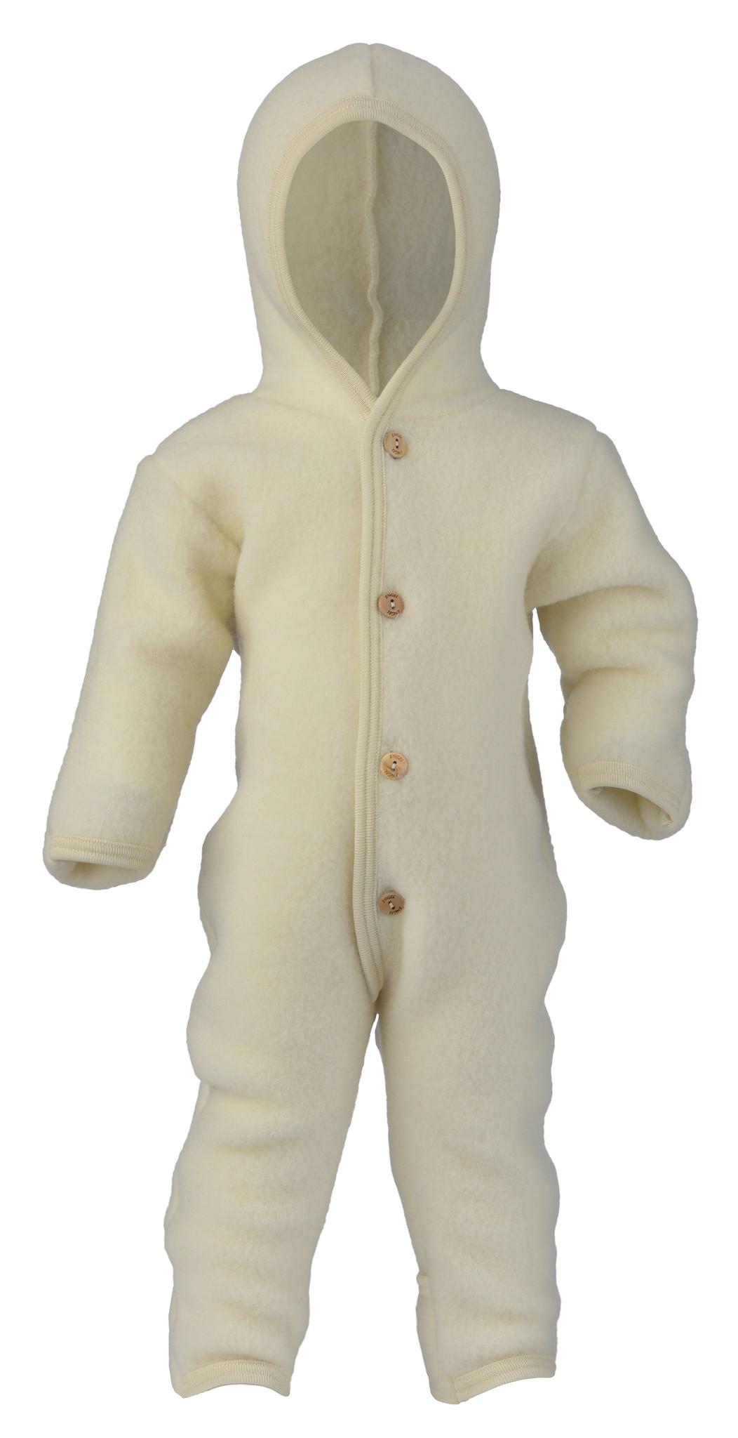 Engel natur Hooded overal /  skipak / buitenpak met houten knoopjes van wol