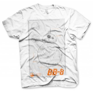 Star Wars Episode 7 The Force Awakens T-shirt BB-8 Blueprint (wit)