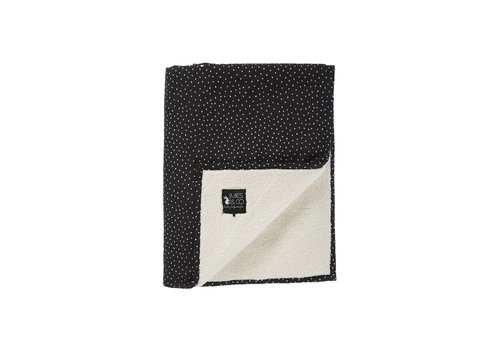 Mies & Co baby soft teddy deken - perfect hearts zwart 70x100