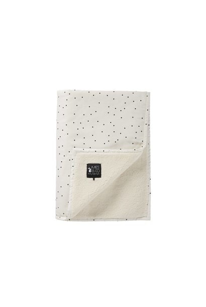 baby soft teddy deken - adorable dot offwhite 70x100