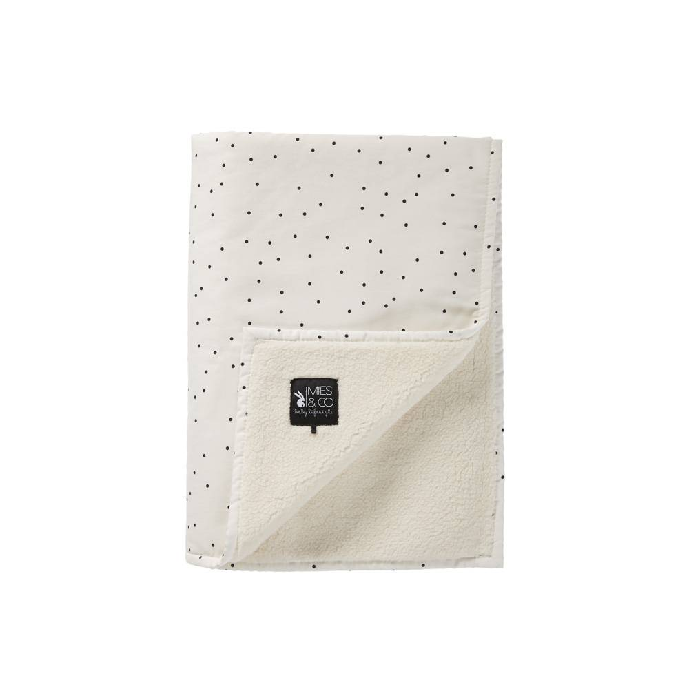 baby soft teddy deken - adorable dot offwhite 70x100-1