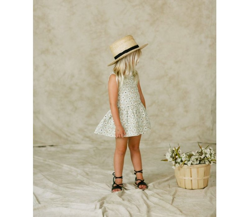 floral button back dress - mint