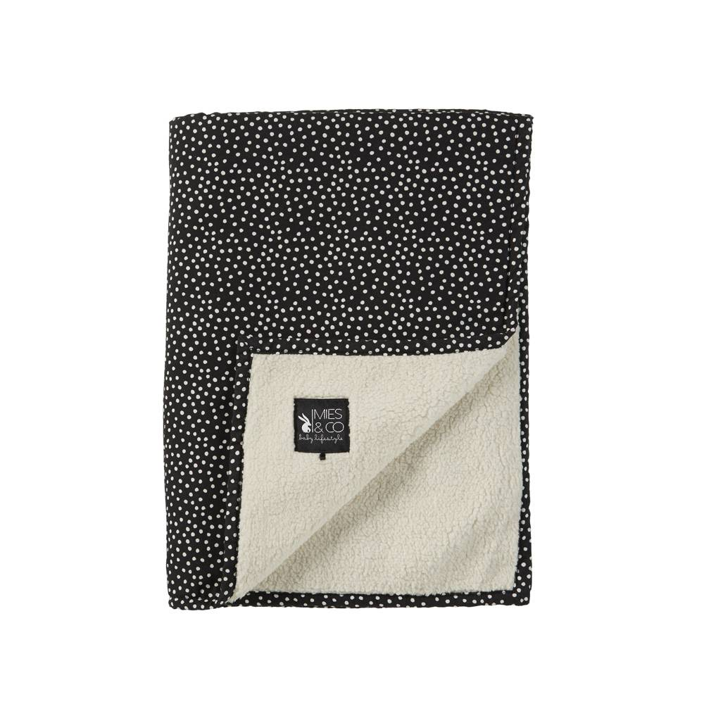 baby soft teddy deken - cozy dots black-1