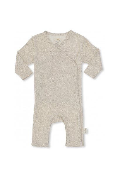 new born onesie - caramel mini dots