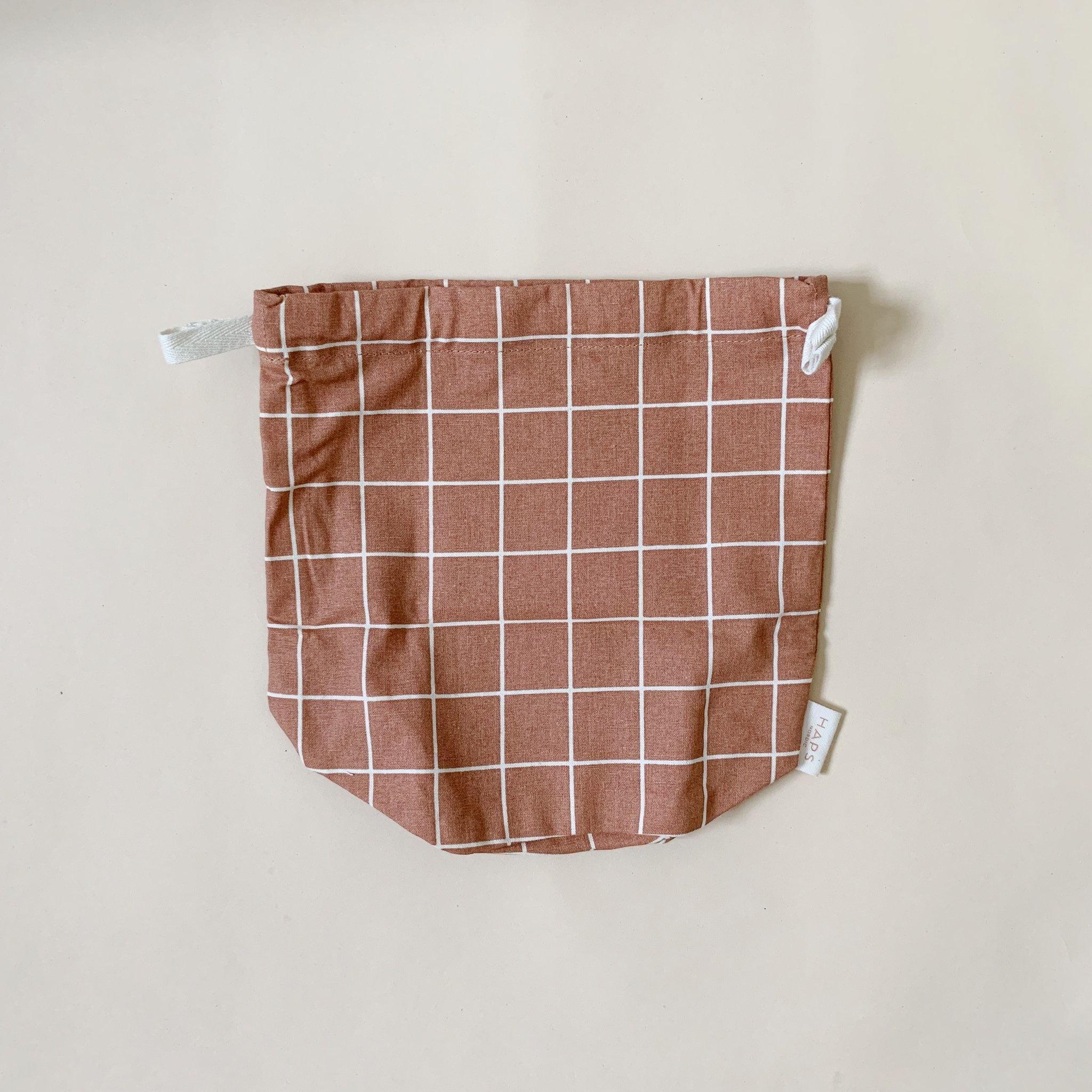 multibag small – terracotta grid-1