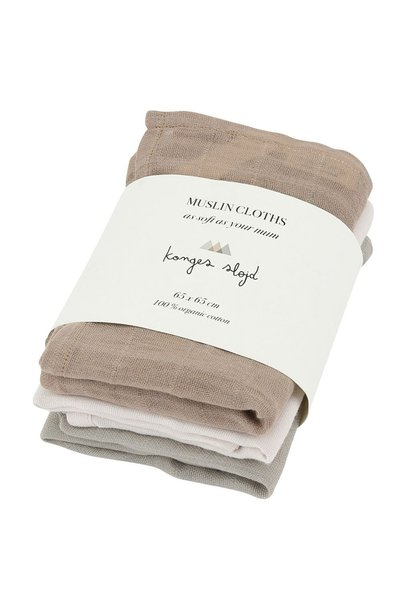 3 pak muslin cloths - rose dust