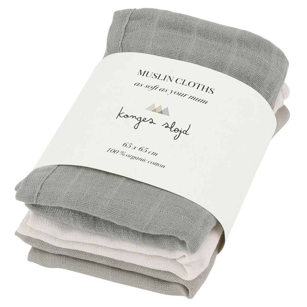 3 pack muslin cloths -  lime stone-1