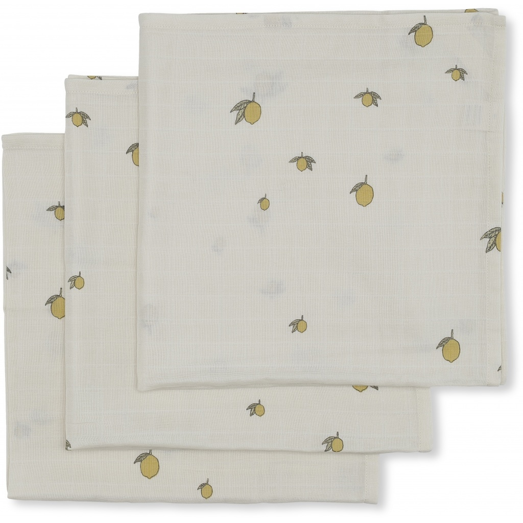 3 pack muslin cloth - lemon-3
