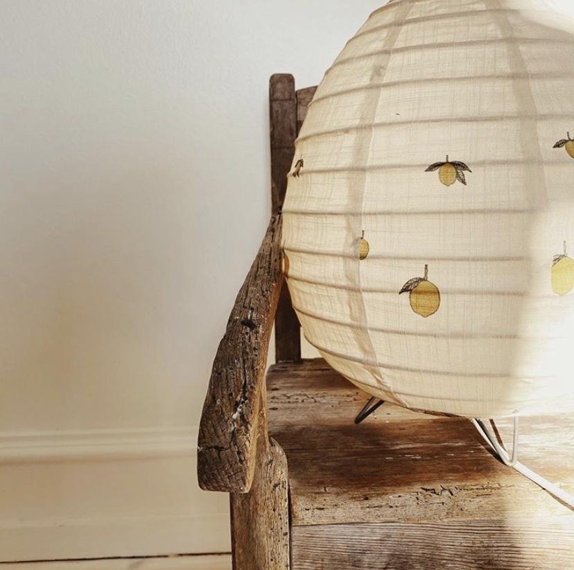 tafellamp katoen met citroenprint  + gratis swaddle-1