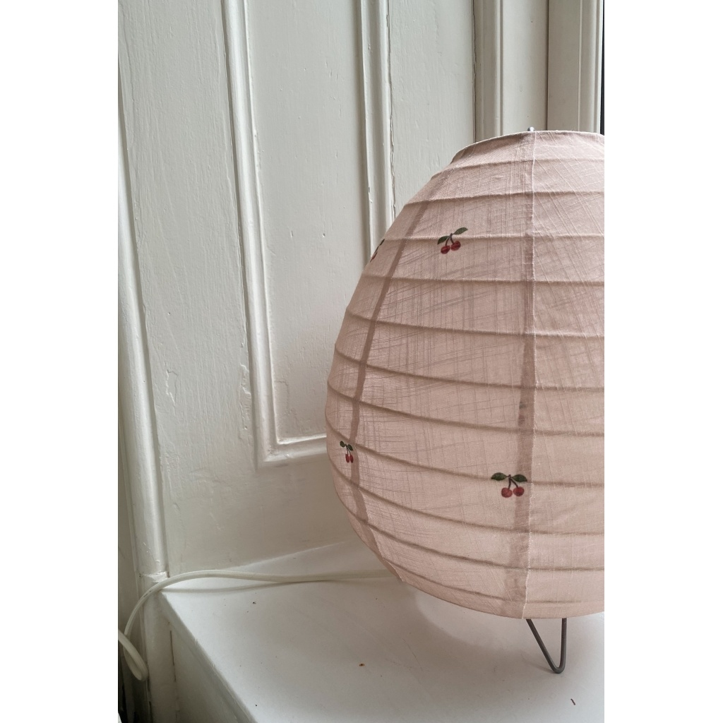 tafellamp katoen met kersenprint  op licht roze-1