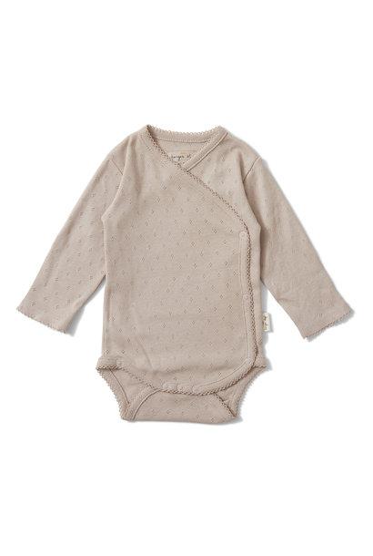 newborn minnie overslagromper - rose grijs