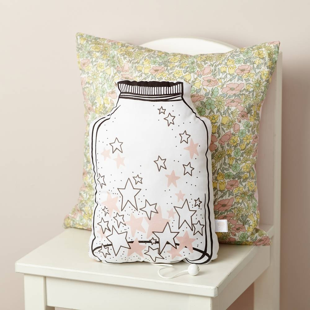 "pink jar of stars musical cushion ""Over the rainbow""-2"