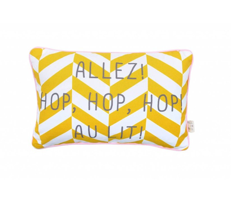 pillow yellow - hop hop hop au lit