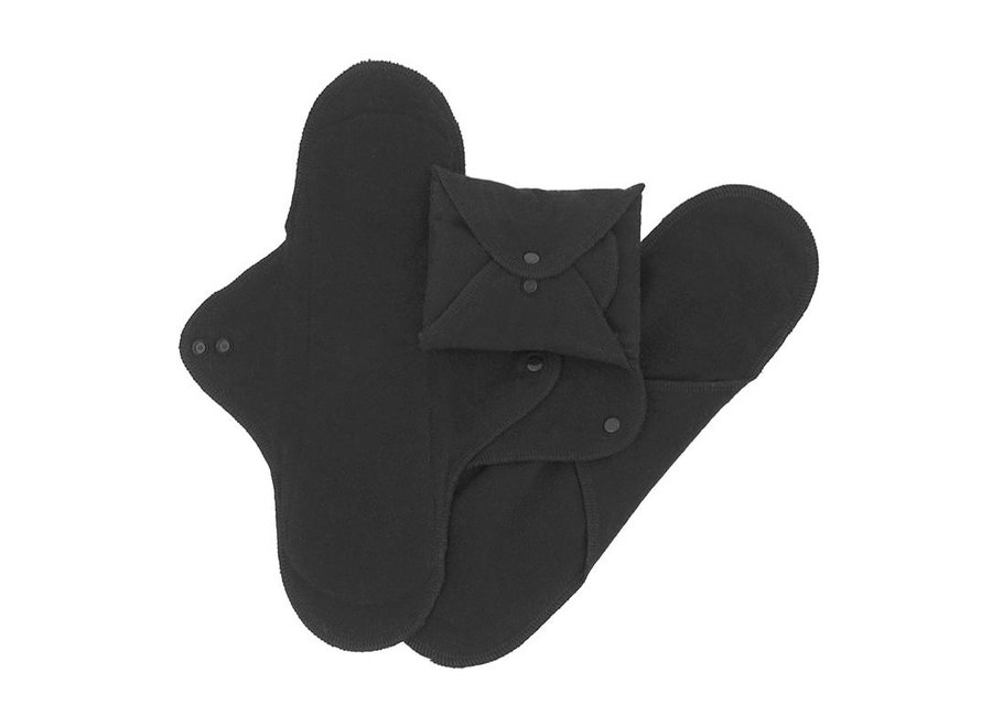 ImseVimse maandverband nacht wasbaar met drukknoopjes - 3 stuks - zwart