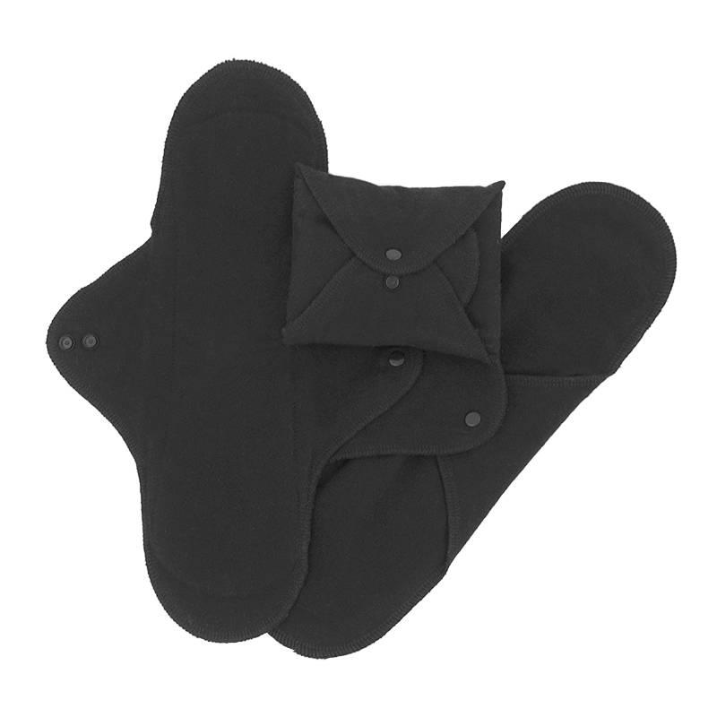 ImseVimse ImseVimse maandverband nacht wasbaar met drukknoopjes - 3 stuks - zwart
