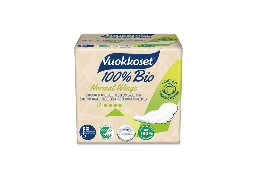Vuokkoset normal sanitary napkins with wings 100% organic - 14 pieces