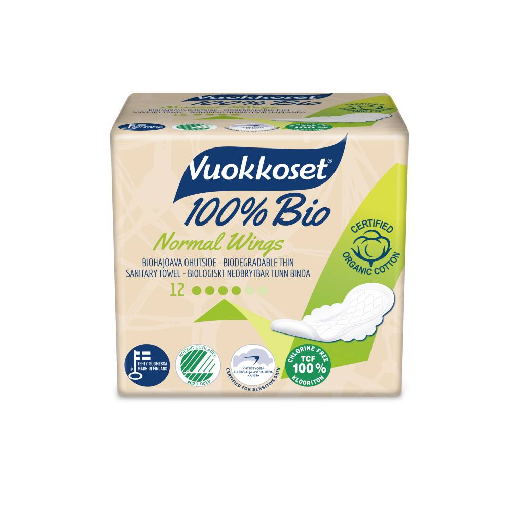 Vuokkoset Vuokkoset normal sanitary napkins with wings 100% organic - 14 pieces