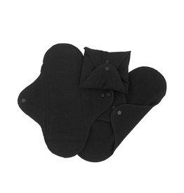 ImseVimse ImseVimse maandverband wasbaar met drukknoopjes - 3 stuks - zwart
