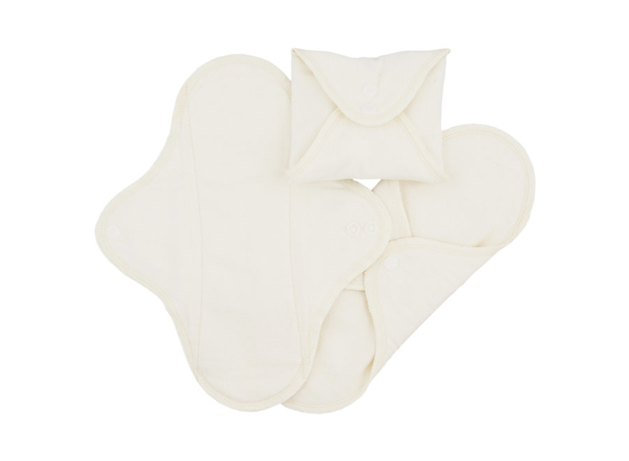 Washable Menstrual Pads with Buttons - 3 Pieces - White