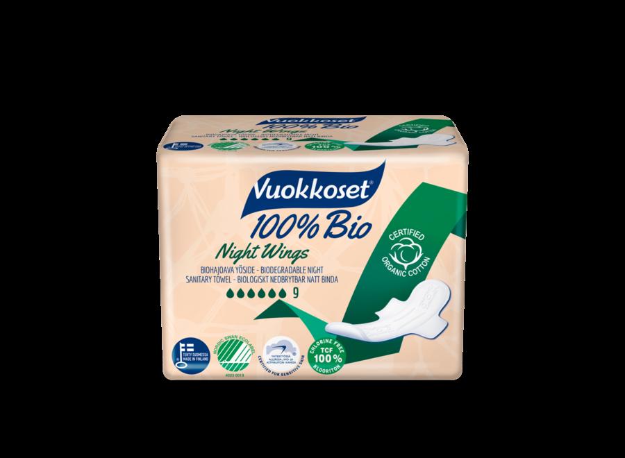 Vuokkoset night sanitary napkin with wings - 100% organic - 9 pieces