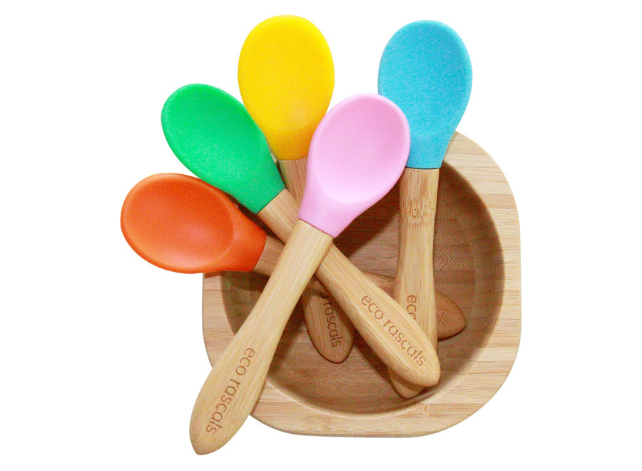 Bamboo spoons mix of various colors - set of 3 - Melamine free