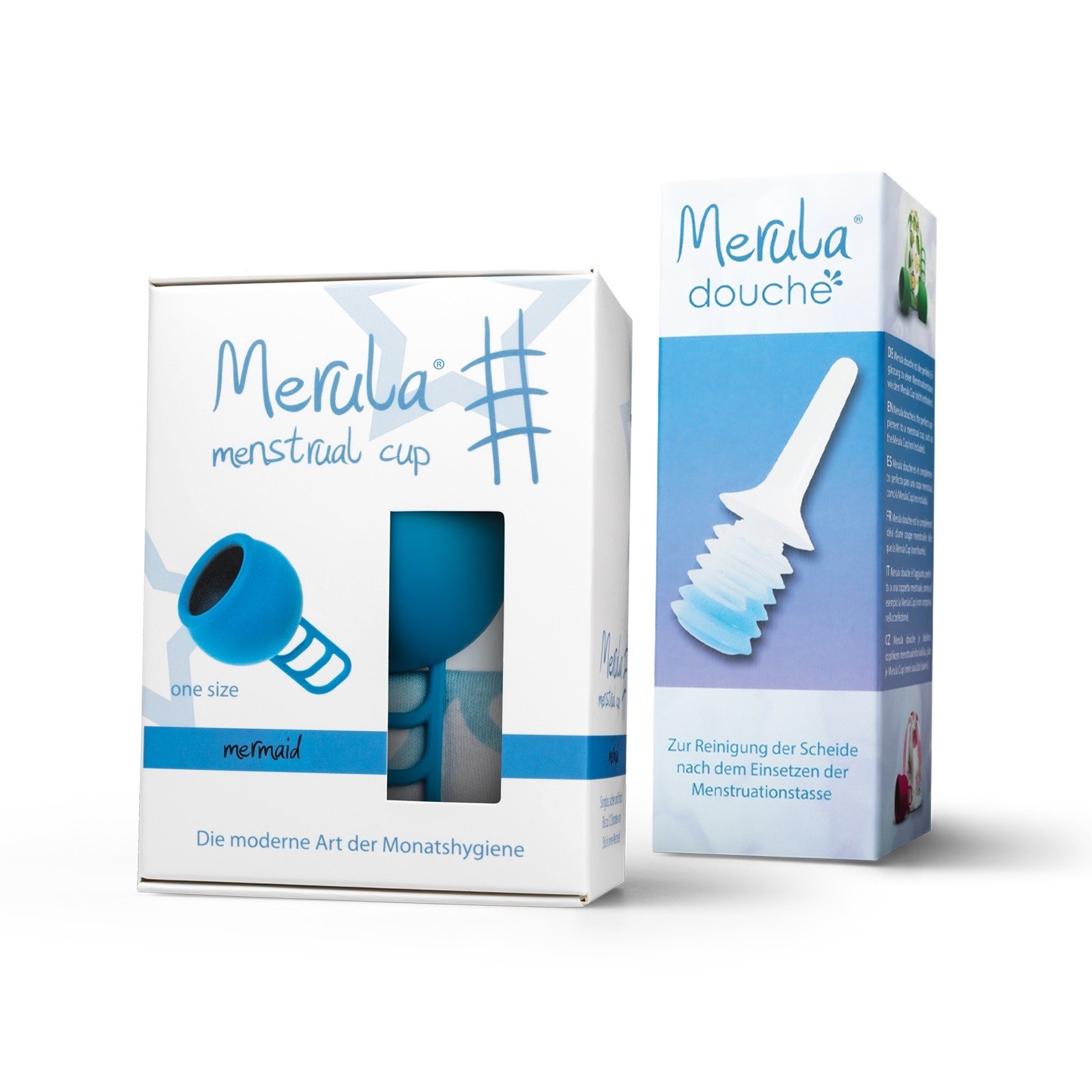 Merula Merula cup met Merula douche - mermaid blauw