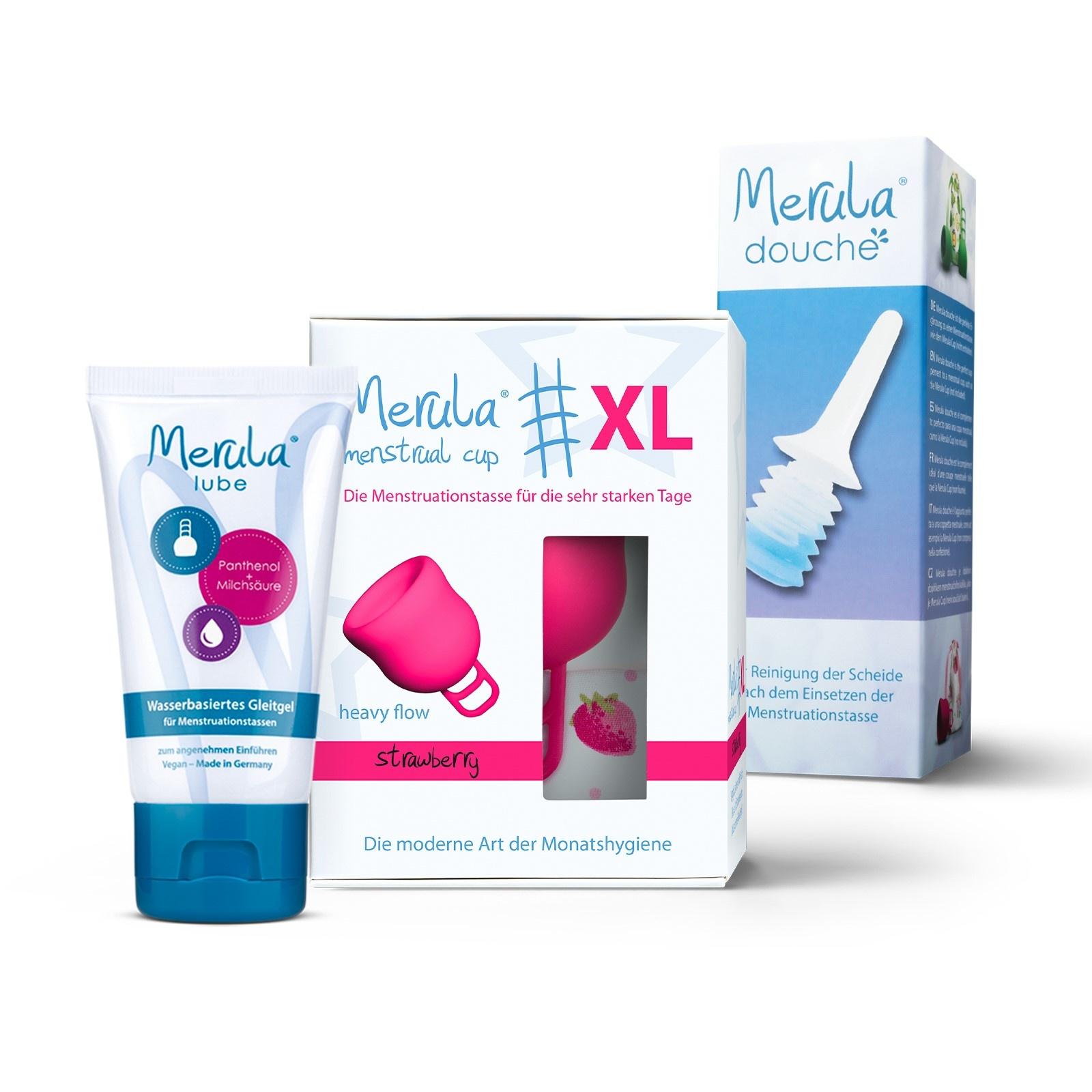 Merula Merula cup XL with Merula shower + lube - strawberry pink