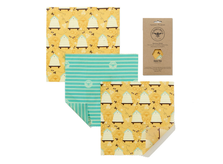 Beeswax food wraps cheese pack - Beehive - 3 pieces