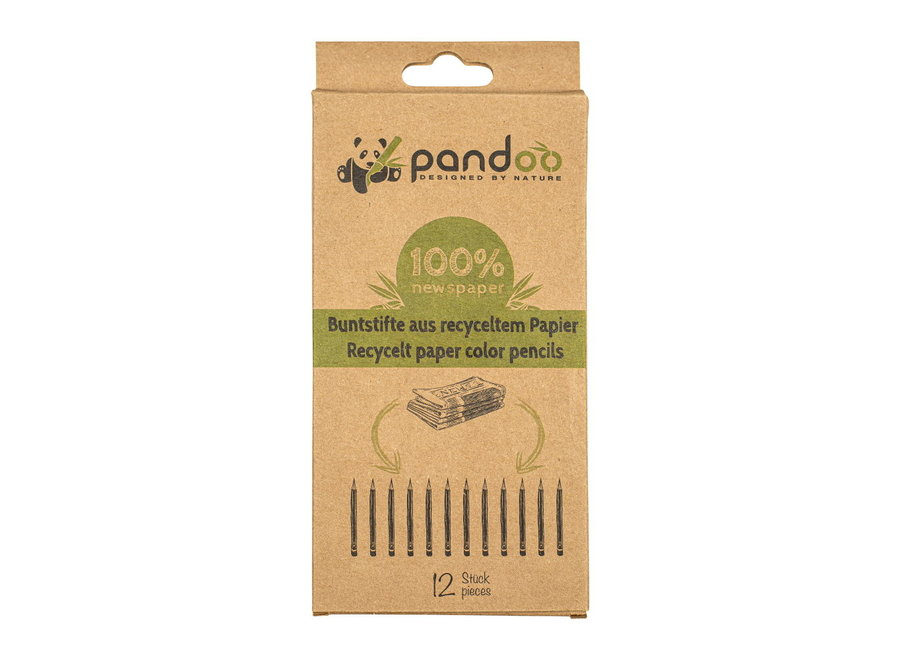 Pandoo colored pencils bamboo from recycled paper - 12 pieces