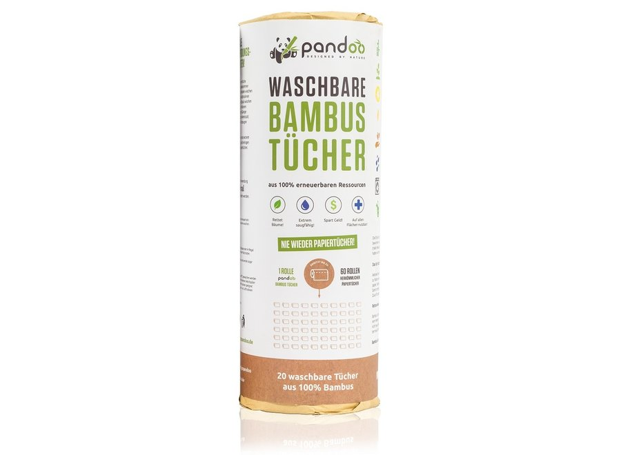 Pandoo bamboe wasbaar keukenpapier - 1 rol