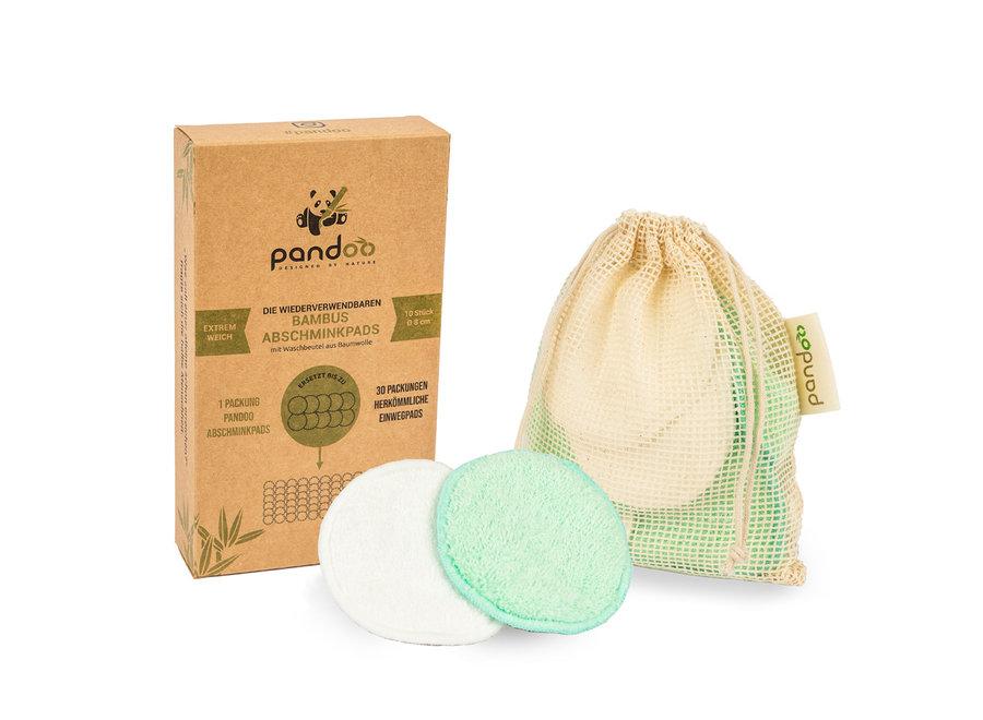 Pandoo reinigingpads wasbaar - wasbare wattenschijfjes van bamboe - 10 stuks