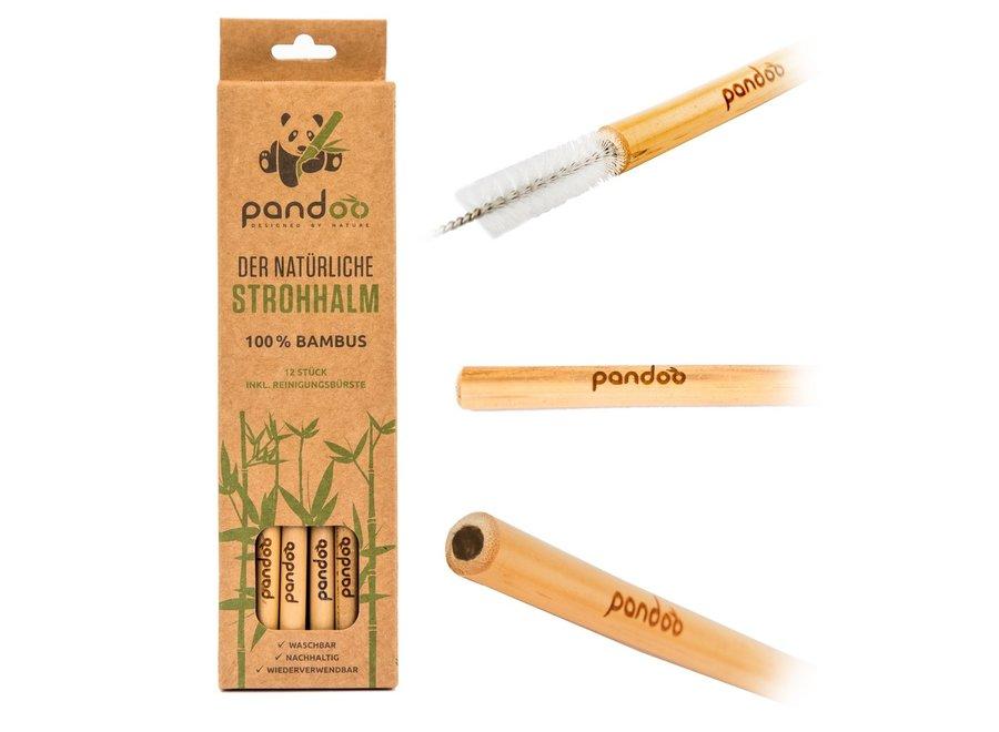 Pandoo herbruikbare rietjes bamboe - 12  stuks