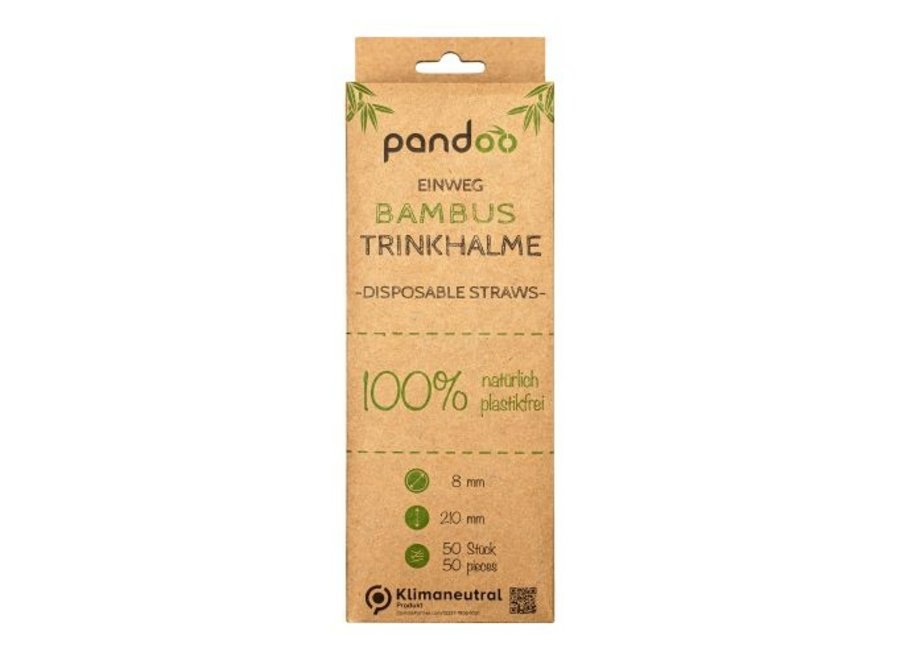 Pandoo disposable straws bamboo - 50 pieces