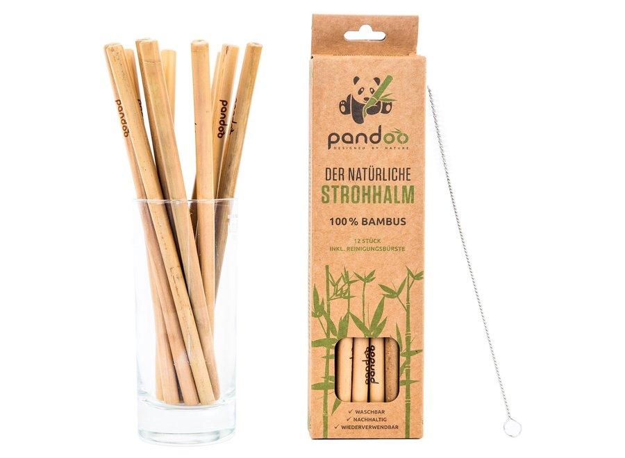 Pandoo herbruikbare rietjes bamboe - 24  stuks