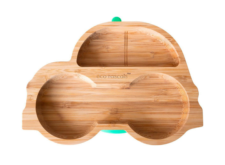 Bamboo plate car - with suction cup