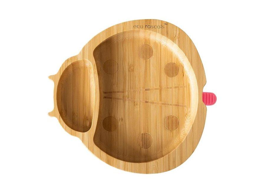 Bamboe bordje lieveheersbeestje - zonder lepel - 6 kleuren
