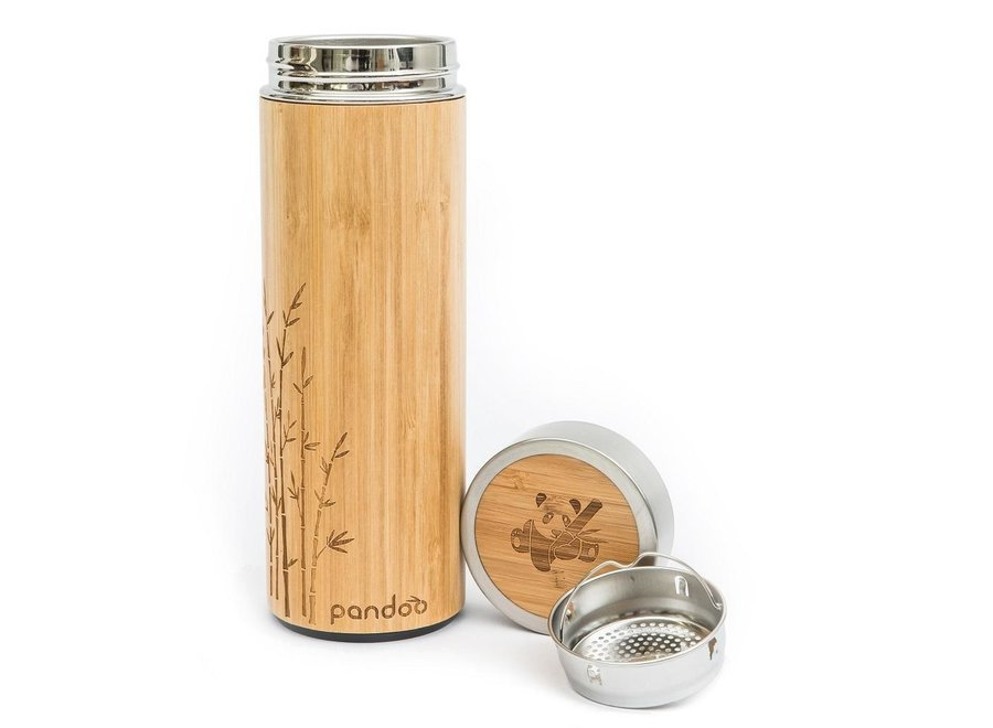 Pandoo bamboo thermos with tea strainer insulated