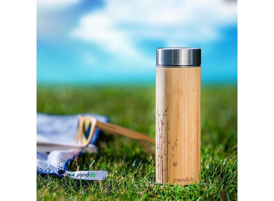 Bamboo thermos cup with tea strainer