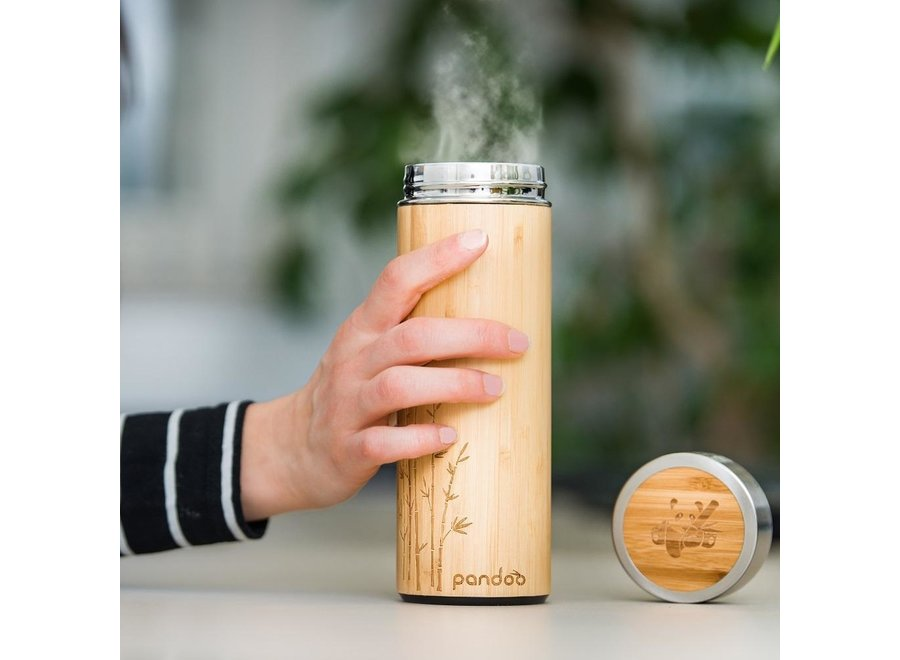 Bamboo thermos with tea strainer