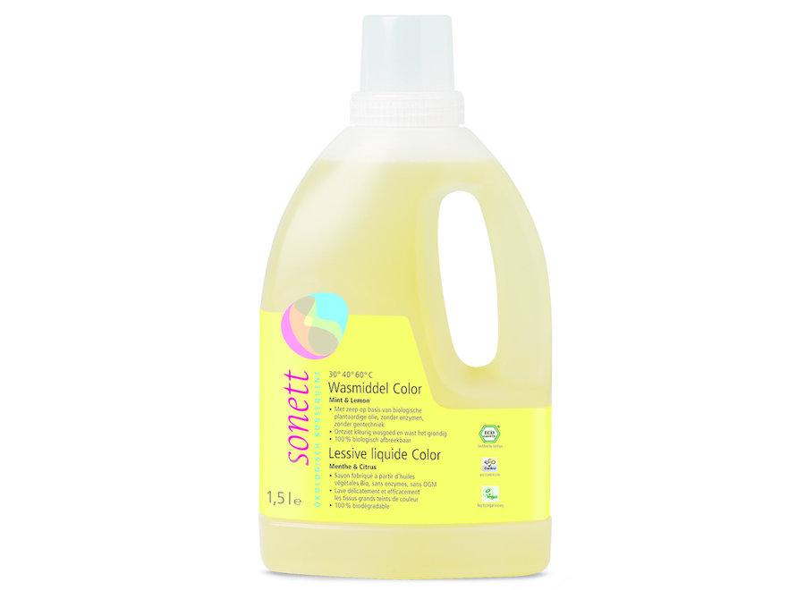 Wasmiddel vloeibaar kleur mint & lemon 1,5 liter