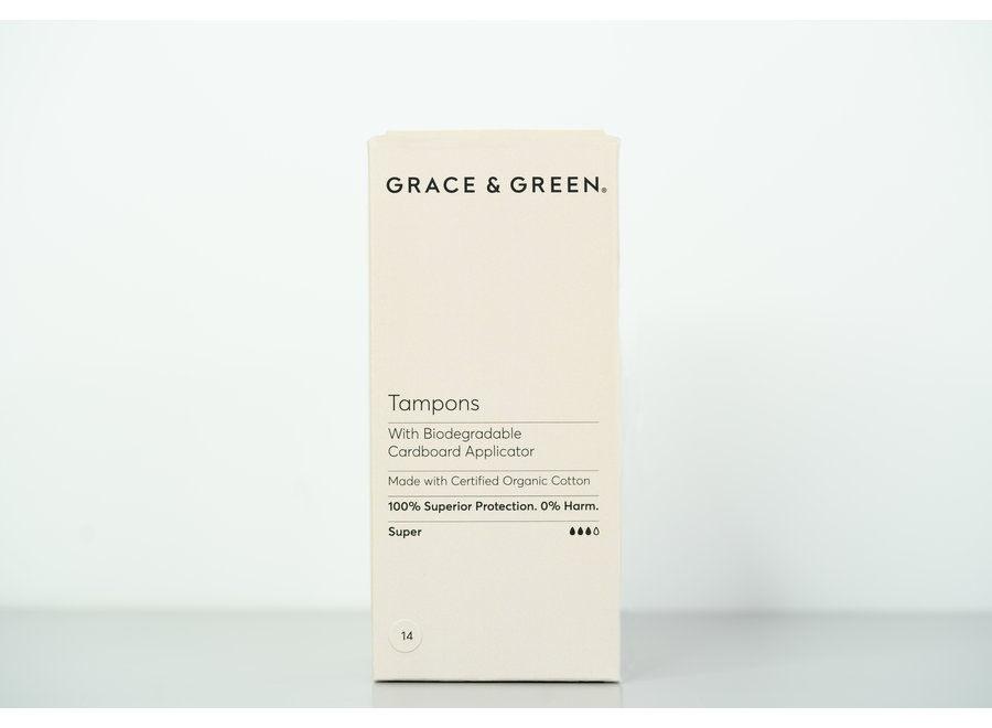 Organic Cotton tampons with biodegradable cardboard applicator - 14 in a box