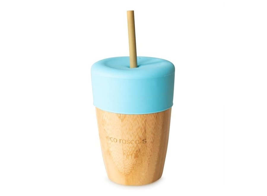 Bamboo cup with 2 bamboo straws - 6 colors - Melamine free