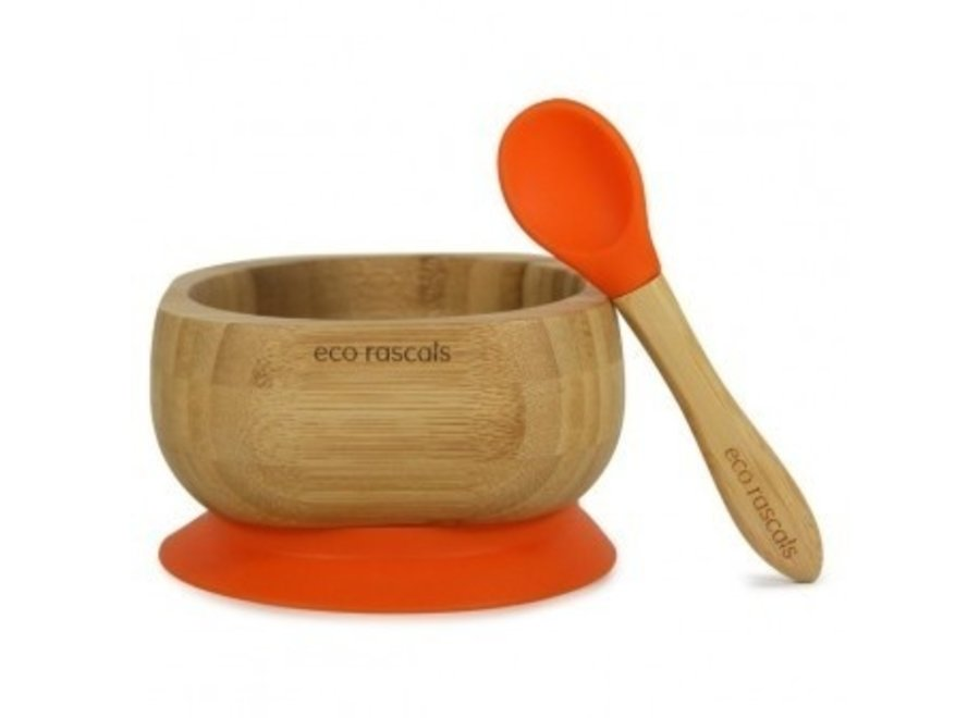 Bamboo bowl with suction cup - with spoon
