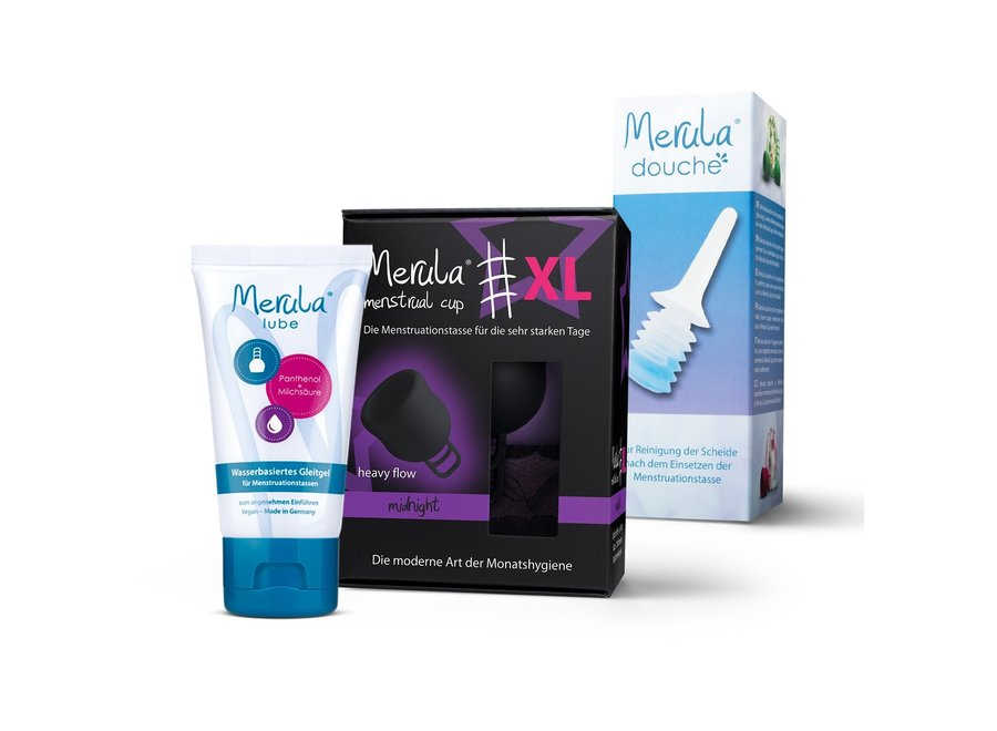 Merula Cup XL + Douche + Glijmiddel - 3 Kleuren